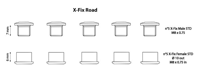Carbon-Ti X-Fix Road Kit Chainring Fixing Bolts Contains 5 males and 5 females