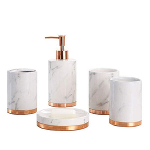 Homlly Marbi 5pcs Bathroom Accessory Set Refillable Soap Dispenser, Soap Dish, Toothbrush Holder Stand, Tumbler Rinsing Cup