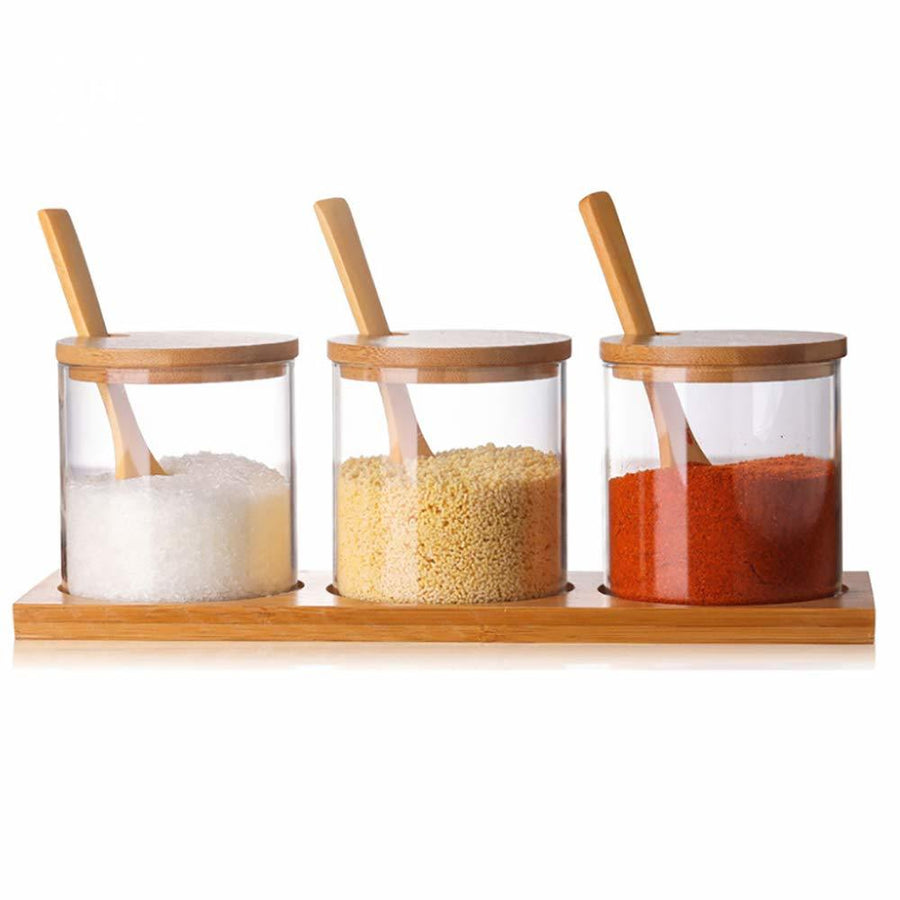 Homlly Glass Condiment Canisters Pots with Wooden Spoon Lid and Base