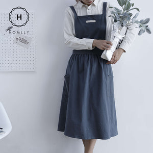 Homlly Cross Back Japanese Style Cotton Apron