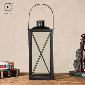 Homlly Candle Faux Plants Black Metal & Glass indoor Lantern