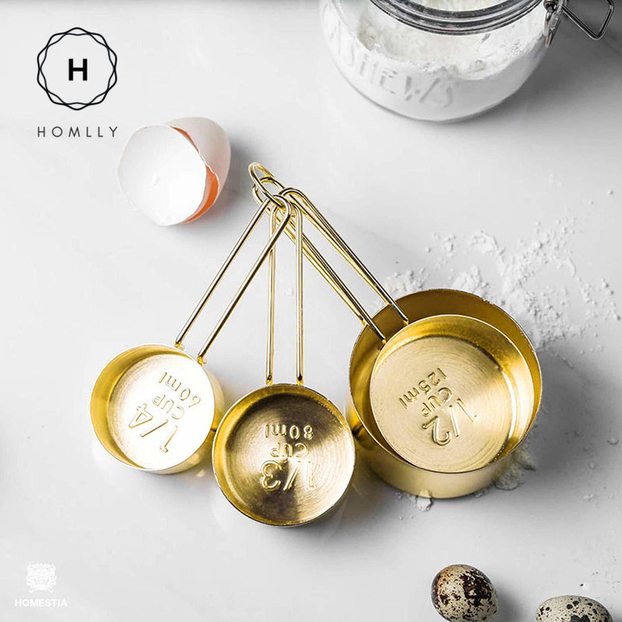 Homlly Gold Measuring Cups and Spoons (Set of 8pcs)