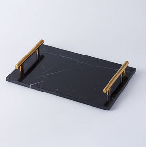 Homlly Marble Display Tray with Gold Handles (30*20*4cm)