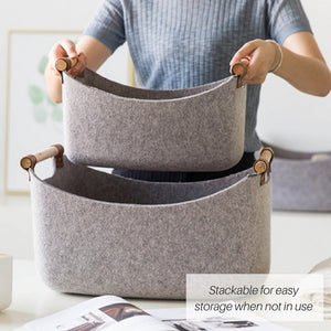 Woven Felt Basket with Wooden Handles