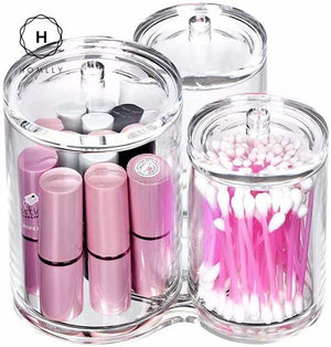 Homlly 3pc Acrylic Clear Cotton Ball and Swab Organizer
