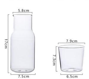Homlly Bedside Water Glass Carafe Jug with Glass Cup Lid (500ml)