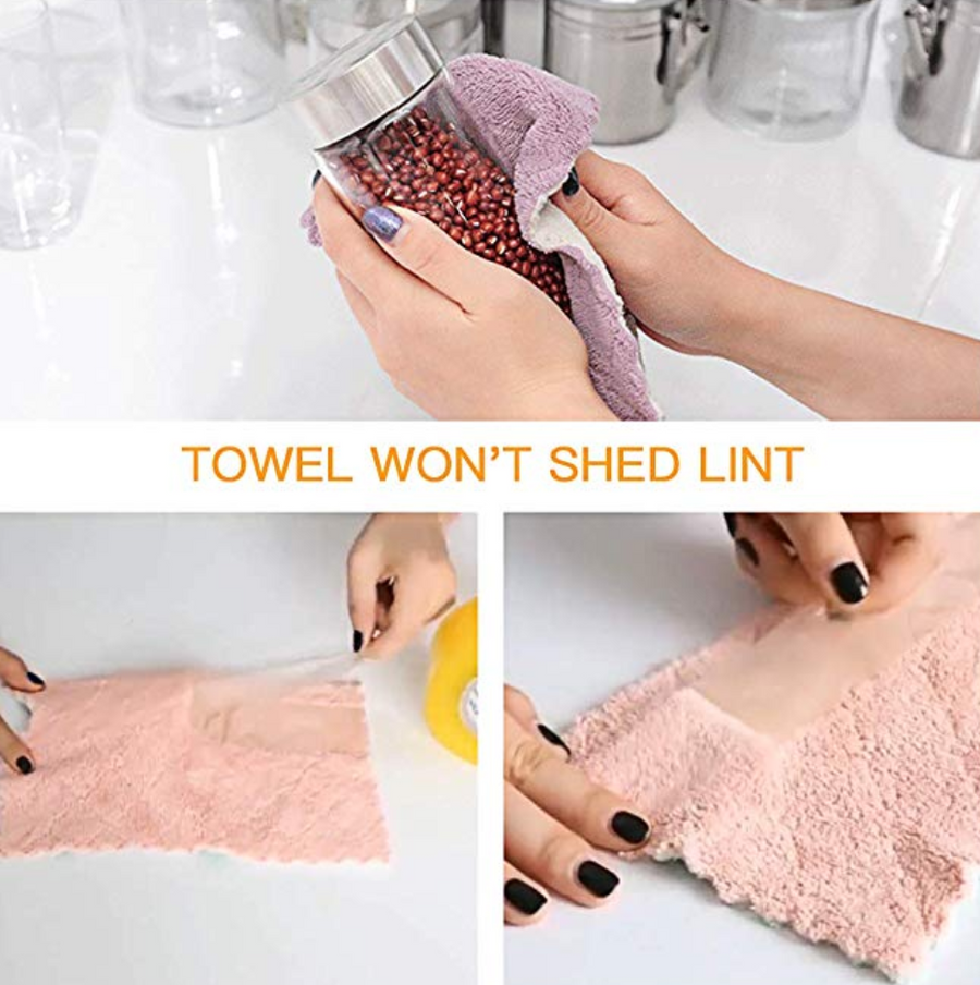 Homlly 12pcs Super Absorbent Non stick Oil Washable Dish towels