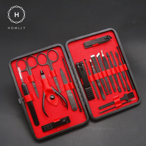 Homlly Professional Manicure Nail Pedicure Care Grooming Kit (20Pcs)