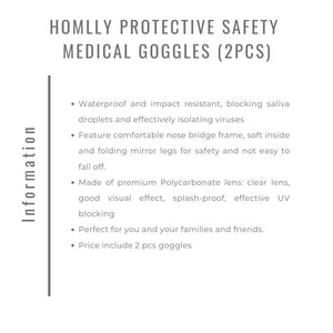 Homlly Protective Safety Medical Goggles (2pcs)