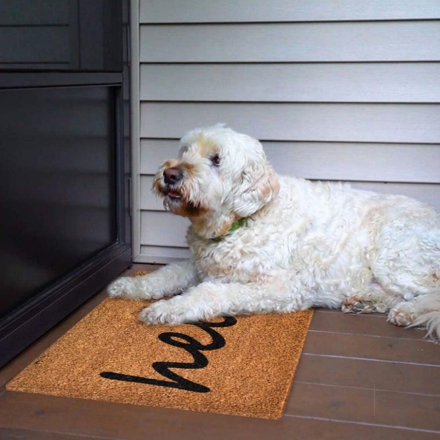 Homlly Hello Door Mat Natural Coir