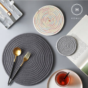 Homlly Modern Braided Round Table Coasters (4pcs)