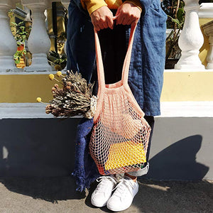 Homlly Cotton Mesh Farmer Tote Bag