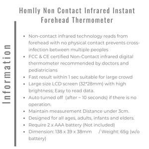 Homlly Non Contact Infrared Instant Forehead Thermometer