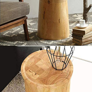 Homlly Round Pine Tree Wood Side Table
