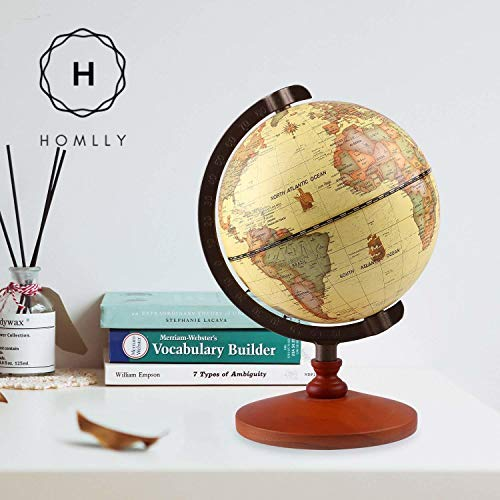Homlly Wooden Base Retro World Globe (14cm Dia)