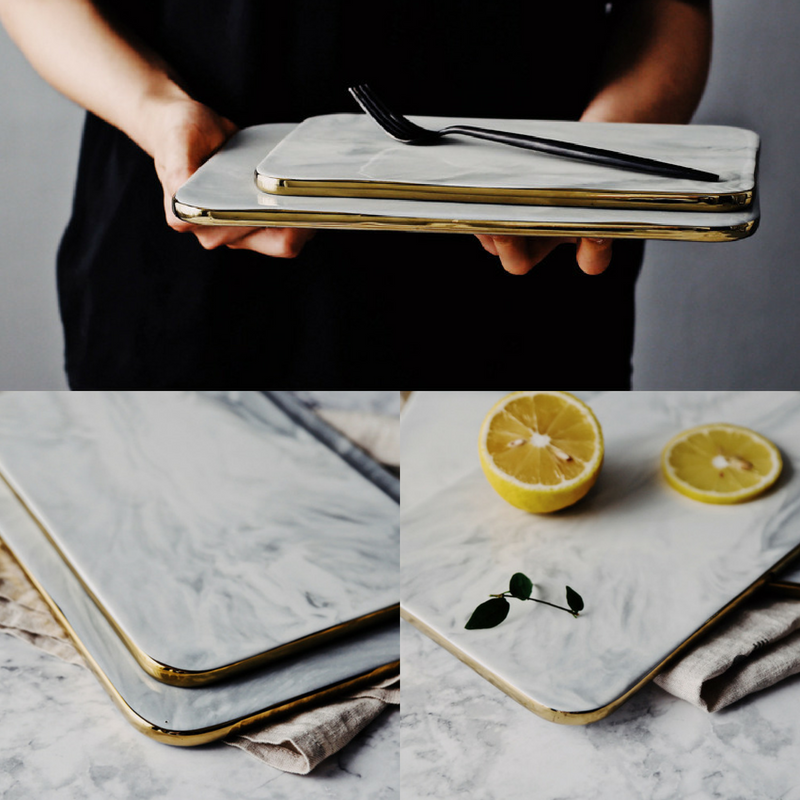 Keii Gold Rim Marble Serving Plate / Chopping Board