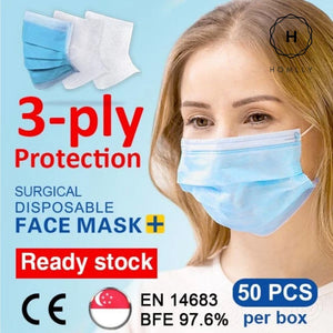 Homlly 3 Ply Protective Disposable Surgical Face Mask (CE Medical Grade)