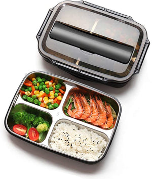Homlly 4 Compartment Stainless Steel Thermal Bento Lunch Box
