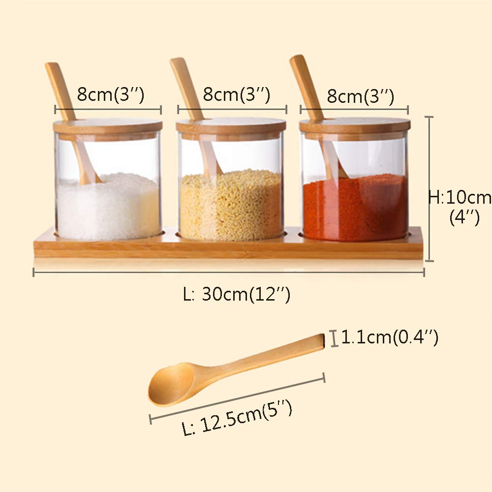 Homlly Glass Condiment Canisters Pots With Wooden Spoon