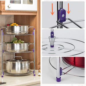 Homlly 3 Tier Round Standing Storage Tower Rack - Homlly