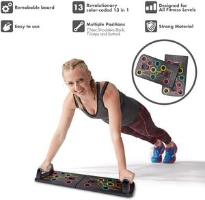 Homlly 13 in 1 Portable Power Press Push Up Workout Board with Resistance Band