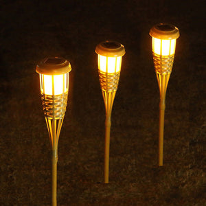 Gardi Bamboo Solar LED Flame Torch Light - Homlly