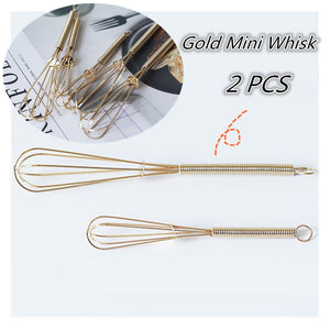 Homlly Gold Stainless Steel Egg Beater Whisk (Set of 2)