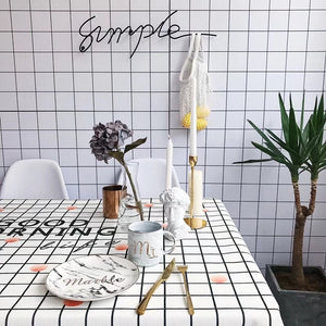 Homlly Good Morning Checked Table Cover Cloth  (4 Sizes) - Homlly