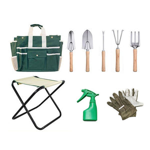 Homlly 9 Piece Gardening Hand Tools Set with Garden Storage Tote Bag and Seat
