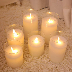 Homlly Glass LED Remote Battery Operated Flickering Candles