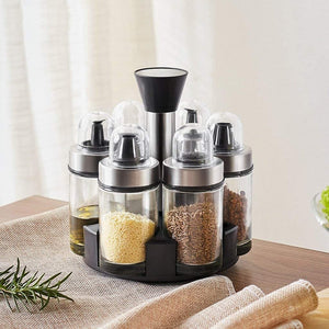 Homlly Rotary Glass Condiment Spice Bottle Stand Set (6pcs)