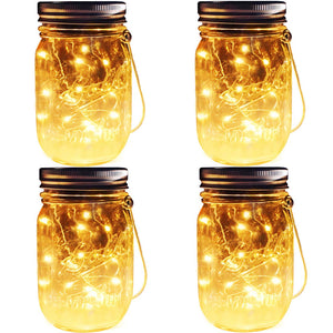 Homlly Solar Mason Jar Fairy LED Lights (4pcs)