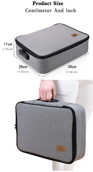 Homlly Multiple Layers Travel Document Bag with Lock