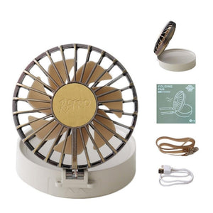Homlly Retro Portable LED Mirror Lanyard Fan