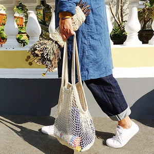 Homlly Cotton Mesh Net String Shopping Tote Bag