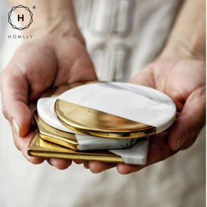 Homlly Keii Gold Marble Coaster