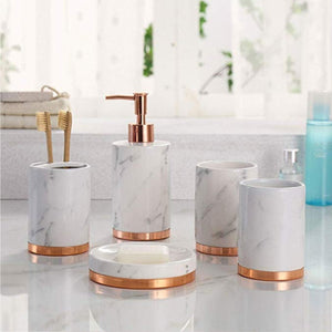 Homlly Marbi 5pcs Bathroom Accessory Set Refillable Soap Dispenser, Soap Dish, Toothbrush Holder Stand, Tumbler Rinsing Cup - Homlly