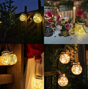 Homlly Solar LED Fairy Crackled Glass Lantern Lamps (2pcs)