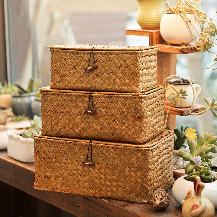 Homlly Handmade Woven Straw Storage boxes w lids (3 pcs sets)