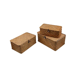 Homlly Handmade Woven Straw Storage boxes w lids (3 pcs sets) - Homlly