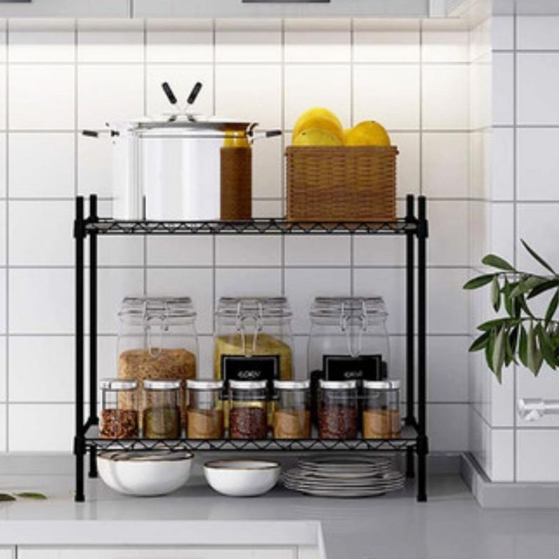 Homlly 2 Tier Adjustable Kitchen Rack (Stainless Steel)