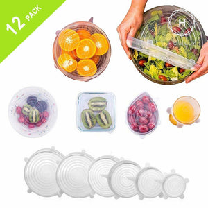 Homlly Reusable Silicone Bowl Lids for Bowls, Pots, Cups (12pcs)