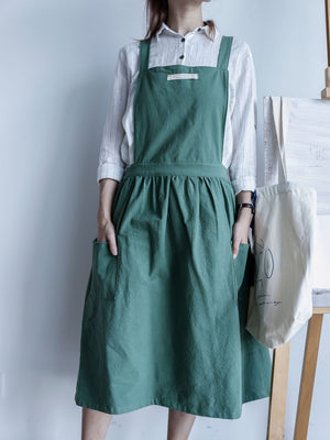 Homlly Cross Back Japanese Style Cotton Apron - Homlly