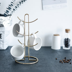 Homlly 6 Cup Mug Jewellery Gold Rim Stand Holder