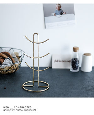 Homlly 6 Cup Mug Jewellery Gold Rim Stand Holder - Homlly