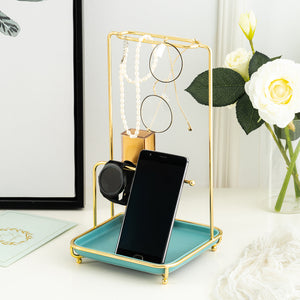 Homlly Marbi Gold Rim Jewellery Beauty Stand