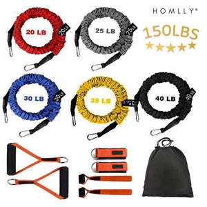 Homlly Fitness Resistance Band Home Kit (150LBS)