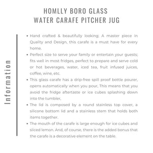 Homlly Boro Glass Water Carafe Pitcher Jug (Slim)