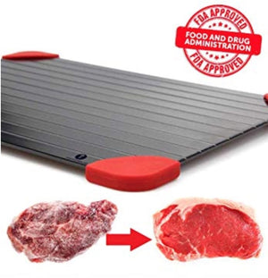 Homlly Defrosting Tray with Red Silicone Border (FDA Safe) available in 3 sizes S/M/L