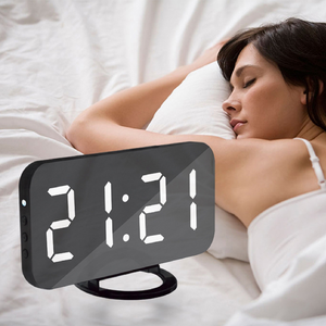 Bedside Large Digit LED Alarm Clock w 2 USB Charging Port